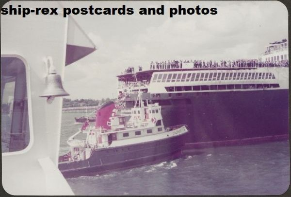 CALSHOT (1964, Red Funnel) escorting QE2 on Falklands return, photo